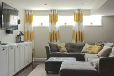 Color block curtains for small basement windows