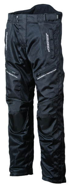 AGVSPORT AirTex Waterproof (Black) Textile Pants - Outer shell is constructed from polyester 600 denier fabrics and multiple mesh regions. Multiple stitch main seam for maximum tear resistance. CE approved knee armor and reflective piping for added safety. Includes jacket connection zipper. Click on the picture for more information!