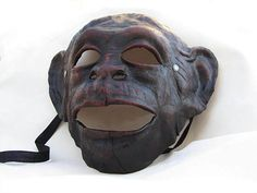 monkey ape mask brown leather dark gothic costume larp
