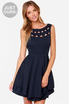 LULUS Exclusive Flirting with Danger Cutout Navy Blue Dress at LuLus.com!I want in navy, turquoise, black and burgundy!