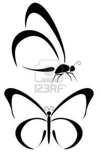 Set Of Two Tribal Butterfly Tattoos Royalty Free Cliparts Vectors