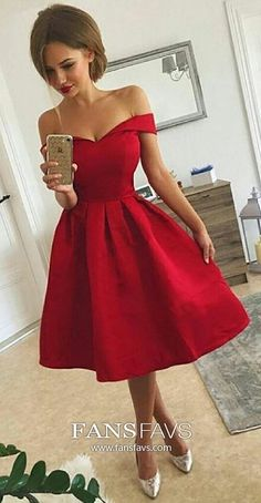 5fbbcf9cce5 Ball Gown Off-the-shoulder Satin Knee-length Prom Dresses. Graduation  DressesVintage Homecoming DressesRed Party DressesShort ...