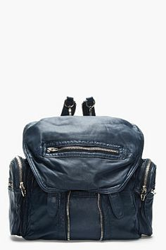 Alexander Wang Ink Blue Leather Marti Backpack for women | SSENSE