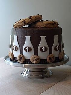 Milk & Cookies 1st Birthday Cake! (picture of design only)
