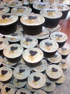 Black & Gold Wedding Cupcakes