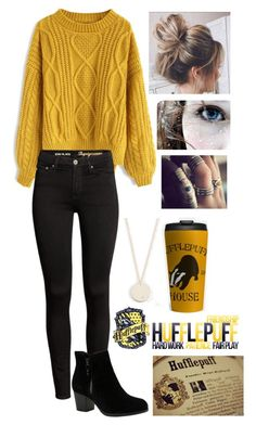 """""""Harry Potter // Hufflepuff"""" by somenormalpanda ❤ liked on Polyvore featuring Chicwish, Skechers, Shashi, harrypotter, slytherin, Gryffindor, ravenclaw and Hufflepuff"""