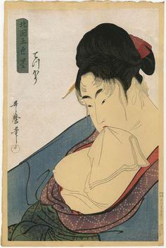 "vintage geisha art: Utamaro Kitagawa ""Teppo"" from ""Five Shades of Black in the Yoshiwara"" 1800 • Japanese woodblock print 10x15"""
