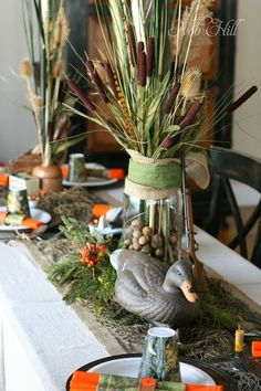 Thanksgiving - Duck Dynasty Style Cattails and Duck Decoys Camouflage Party, Camo Party, Camo Birthday Party, Big Party, Thanksgiving Table Settings, Thanksgiving Centerpieces, Diy Thanksgiving, Table Centerpieces, Fish Centerpiece