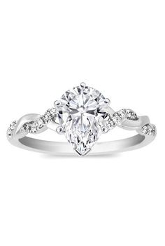 Pear Shape Diamond Petite twisted pave band Engagement Ring