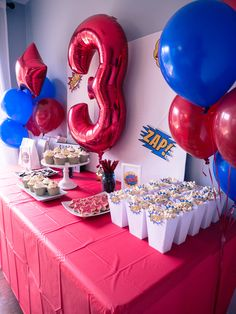 red and blue superhero themed party for every Superman, Wonder Woman, and comic fan. Superman Birthday Party, Blue Birthday Parties, Avengers Birthday, Birthday Party Decorations, Superhero Theme Party, Spider Man Birthday, 3rd Birthday, Birthday Ideas, Pjmask Party