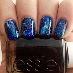 51 Cute Creative Galaxy Nail Art Designs We Love Simple Nail Designs, Nail Art Designs, Cosmic Nails, Galaxy Nail Art, Gel Nails, Nail Polish, Finger, Cute Nail Art, Blue Nails