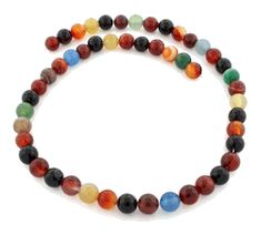 8mm Multi Color Agate Gem Stone Beads