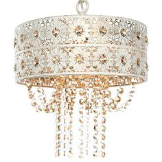 Champagne Jeweled Blossoms Pendant Lamp ($104) ❤ liked on Polyvore featuring home, lighting, ceiling lights, cord pendant light, chain pendant light, flowers shade, chain lighting and petal pendant light