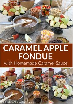 caramel apples Caramel Apple Fondue :: This fun Fall Treat is SUPER easy to serve! Make Caramel Sauce for Apples with only 5 ingredients in less than 10 minutes! Add fun Caramel Apple T Caramel Apple Sauce, Caramel Apple Bars, Mini Caramel Apples, Homemade Caramel Sauce, Apple Recipes, Fall Recipes, Holiday Recipes, Hallowen Food, Halloween Food For Party
