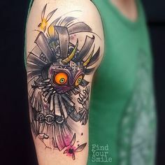 Awesome Skull Kid tattoo done by @findyoursmile.