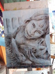 """А это уже Эль Греко. Пока готово лишь небо и человек """"из грязи"""". Дальше буду добавлять """"божественный свет"""" )) #art #darkair"""