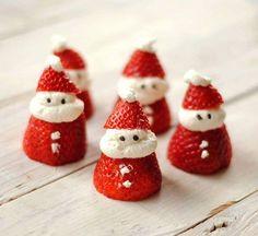 Strawberry & cream Santas with choc sprinkles for eyes
