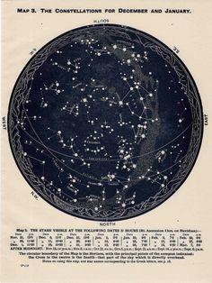 1942 constellations star map original vintage celestial print january february december - southern hemisphere. via Etsy.