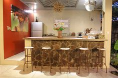 bar table and kitchen