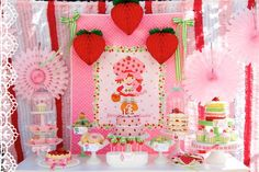 Vintage Strawberry Shortcake Dessert Table