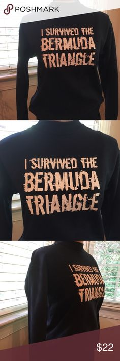 I survived the Bermuda Triangle sweatshirt Never worn excellent condition! I survived the Bermuda Triangle sweatshirt! Size L smoke free home black with white lettering Tops Sweatshirts & Hoodies