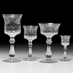 antique etched crystal stemware | English Etched Crystal Stemware : Lot 284