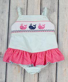 Aqua Stripe Smocked Whale Swimsuit - Infant, Toddler & Girls #zulily #zulilyfinds