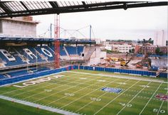 Stamford Bridge in June 1997, with West Stand flattened and the pitch marked out for London Monarchs. Pic Jim Tuite.