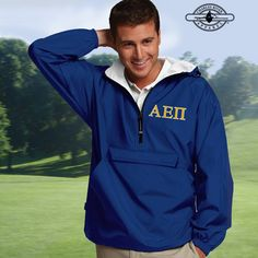 Greek Pullover Jacket with 2-Color Embroidery #Greek #Fraternity #Clothing