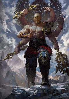 many-armed warrior / mythical being / fantasy / otherworldly / fantasy / deity