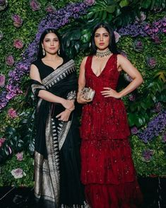 That black saree❤ Indian Reception Outfit, Indian Wedding Outfits, Indian Outfits, Indian Celebrities, Bollywood Celebrities, Bollywood Fashion, Bollywood Dress, Bollywood Wedding, Wedding Sarees
