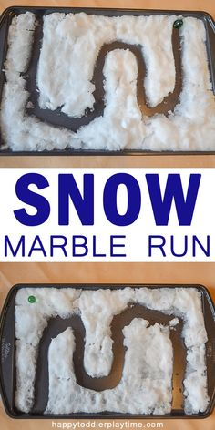 Snow Marble Run – HAPPY TODDLER PLAYTIME Here is a creative twist on a fun activity. A marble run in snow! Find out how to make this fun and easy winter activity for your little one! #winteractivitiesforkids #kidsactivities #stem #stemactivities
