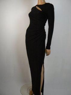LAUREN Ralph Lauren Black Cut Out Ruched Jersey Sheath Gown 2 NEW R332 #LaurenRalphLauren #BallGown #Formal