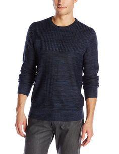 Calvin Klein Jeans Men's Sweater MixedKnit Crew Neck Armada Blue NWT AstSzs $69R #CalvinKleinJeans #sweater #Crewneck #Pullover #menswear
