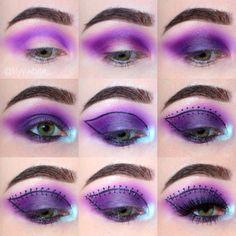 Finding Eye Shadow Tutorials To Revamp Your Look Purple Eyeshadow Looks, Dramatic Eyeshadow, Purple Eye Makeup, Colorful Eye Makeup, Eye Makeup Steps, Makeup Eye Looks, No Eyeliner Makeup, Eyeliner Styles, Halloween Eyeshadow