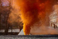 Brandgul rök täcker hela staden - 1 maj i Västerås. #nationalism #sweden #youth