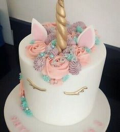 Diy Unicorn Birthday Cake, Little Girl Birthday Cakes, Toddler Birthday Cakes, 14th Birthday Cakes, Little Girl Cakes, Bithday Cake, Unicorn Cakes, Pretty Birthday Cakes, Birthday Cake Toppers