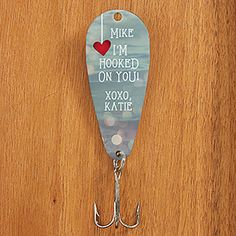 "This is so cute! What a great Valentine's Day gift idea for a guy who loves to fish! You can pick from a cute saying like ""I'm Hooked On You,"" ""I REEL-y Like You,"" ""You're a great catch"" and ""I fell for you hook, line and sinker!"" love love love this!"