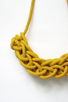 Knitted Rope Necklace in Yellow by HearsayDesigns on Etsy, $62.00