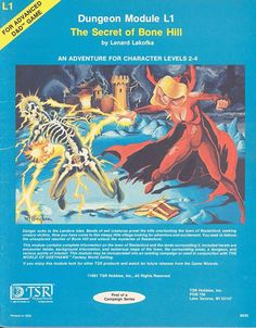 L1 The Secret of Bone Hill (1e) | Book cover and interior art for Advanced Dungeons and Dragons 1.0 - Advanced Dungeons & Dragons, D&D, DND, AD&D, ADND, 1st Edition, 1st Ed., 1.0, 1E, OSRIC, OSR, Roleplaying Game, Role Playing Game, RPG, Wizards of the Coast, WotC, TSR Inc. | Create your own roleplaying game books w/ RPG Bard: www.rpgbard.com | Not Trusty Sword art: click artwork for source