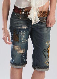 Pantalone Jeans  Donna Pinocchietto 3/4 Patchwork e ricamo Tg. 27