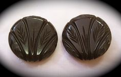 Art Deco Pair of Large Carved Bakelite Buttons