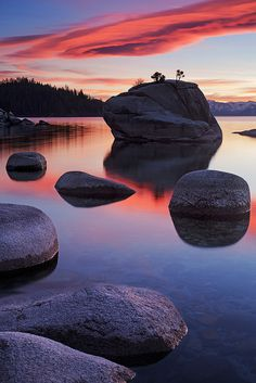 Sunset at Bonsai Rock by Joe Ganster, via Flickr; Lake Tahoe, California