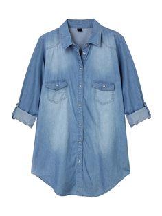 Sale 28% (30.89$) - Women Casual Solid Lapel Adjustable Sleeve Denim Slim Blouse