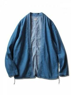 Japanese style samue and undershirt. The material is thin and soft denim. Denim Jacket With Dress, Denim Jacket Men, Bomber Jacket, Fashion Sewing, Kimono Fashion, Japanese Outfits, Cool Street Fashion, Vintage Denim, Lounge Wear