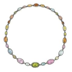 Antique Diamond, Colored Stone, Gold and Silver Necklace | From a unique collection of vintage more necklaces at https://www.1stdibs.com/jewelry/necklaces/more-necklaces/