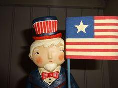 America Patriotic Old Glory Uncle Sam Boy Jenene Mortimer NEW