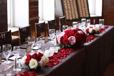head table rose decor by @Althea Wiles on Details Weddings & Events blog
