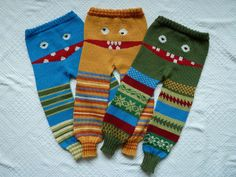 Monster Longies by LilleMy2009, via Flickr Baby Sweater Patterns, Baby Knitting Patterns, Loom Knitting, Baby Patterns, Crochet Patterns, Crochet Baby Pants, Knitted Baby Clothes, Knit Crochet, Knitting Projects