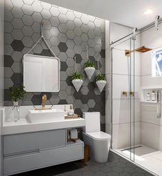 """You know that feeling when you got your place and were like, """"What am I going to do with this boring bathroom?"""" Here's your answer! Bathroom Trends, Bathroom Spa, Bathroom Layout, Bathroom Interior, Toilet Design, Bathroom Styling, Bathroom Inspiration, Design Inspiration, Decoration"""